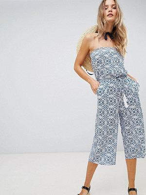 Oasis Apollonia Bardot Beach Jumpsuit - Blue print