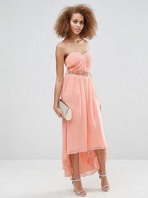 Little Mistress Pleated Bandeau Maxi Dress - Peach