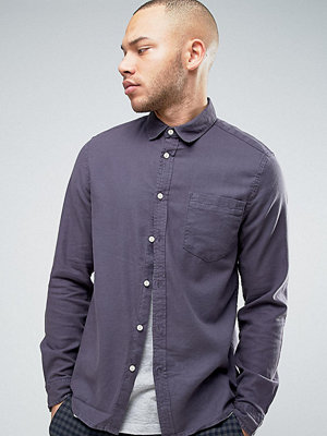 ASOS Regular Fit Slubby Viscose Shirt In Grey - Grey