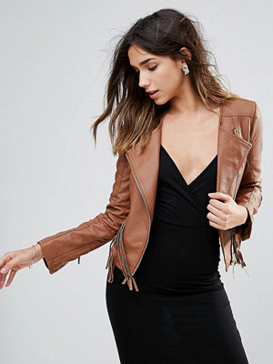 Brave Soul Faux Leather Festival Jacket With Fringe Detail - Tan