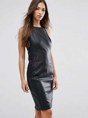 French Connection Canterbury Leather Look Pencil Dress - Black multi