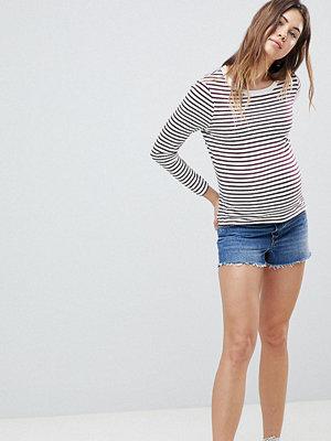 ASOS Maternity Alvey Vintageblå shorts med råskuren fåll