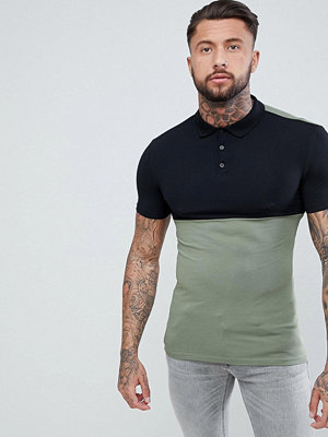 ASOS DESIGN muscle fit jersey polo with contrast yoke - Geata green/ black