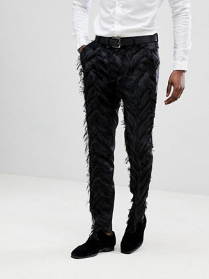 ASOS EDITION Skinny Smart Trousers In Black Fringing