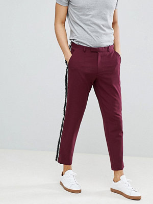 ASOS DESIGN Skinny Crop Smart Trousers With Fringe Side Stripe - Raspberry