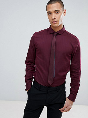ASOS DESIGN slim shirt in herringbone with double cuff & cutaway collar In burgundy - Burgundy