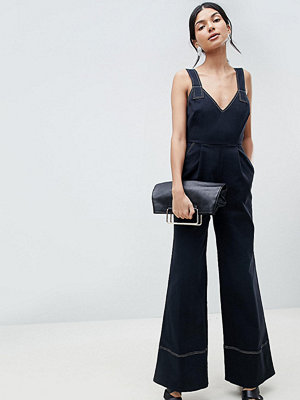 Asos Tall ASOS DESIGN Tall Jumpsuit In Twill With Tie Detail And Wide Leg