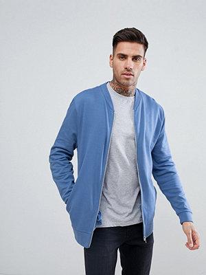 Bomberjackor - ASOS DESIGN Jersey Bomber Jacket In Blue - Dutch blue