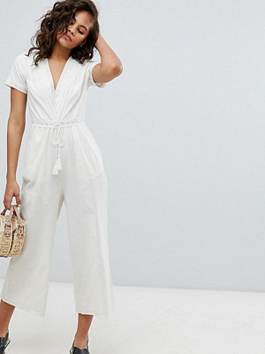 Asos Tall ASOS DESIGN Tall Cotton Embroidered Jumpsuit With Tassel