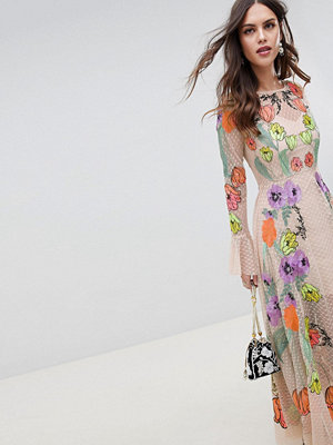 ASOS Edition embroidered floral maxi dress - Pink