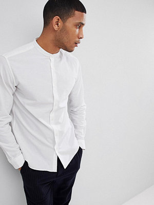 Selected Homme Linen Shirt With Grandad Collar - Bright white