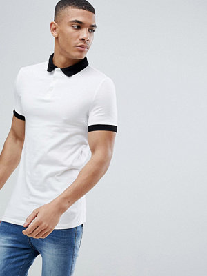 ASOS DESIGN muscle fit polo in jersey with contrast collar - Wht/blk
