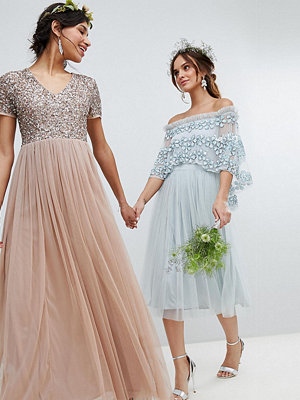 Maya V Neck Maxi Tulle Bridesmaid Dress with Tonal Delicate Sequins - Taupe blush