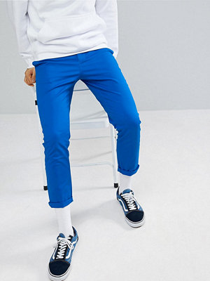 ASOS DESIGN Slim Cropped Chinos In Bright Blue - Skydiver