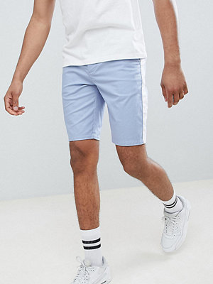 ASOS DESIGN Tall Skinny Chino Shorts In Light Blue With White Side Stripe