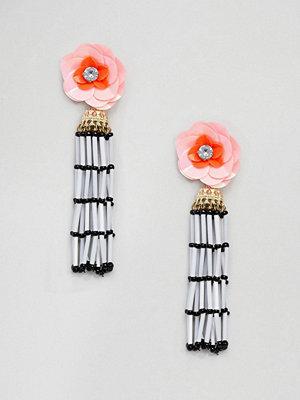 ASOS örhängen DESIGN Jewel Flower Seedbead Tassel Earrings