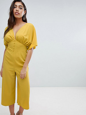 ASOS DESIGN Tea Jumpsuit With Kimono Sleeve And Button Detail - Ochre