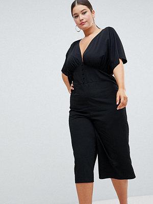 ASOS Curve ASOS DESIGN Curve Tea Jumpsuit With Kimono Sleeve And Button Detail