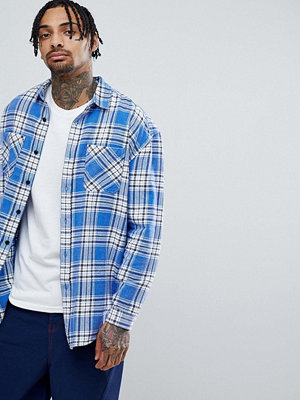 ASOS DESIGN Oversized Brushed Check Shirt With Optic Wash