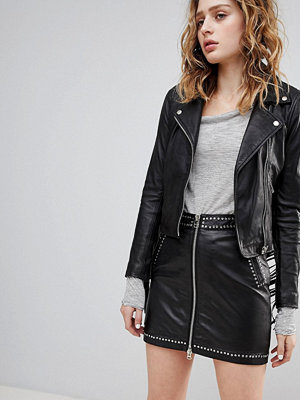 Goosecraft Festival Leather Mini Skirt with Zip and Stud Detail