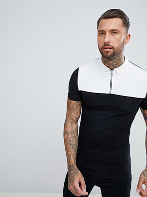 ASOS DESIGN muscle fit polo with contrast yoke and zip neck - Blk/ wht