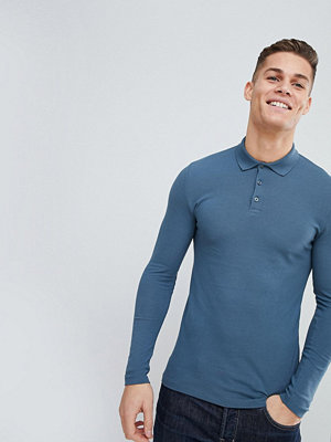 ASOS DESIGN muscle fit long sleeve pique polo in blue - Hush grey