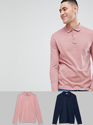 ASOS DESIGN long sleeve polo in jersey 2 pack SAVE - Navy/mrare