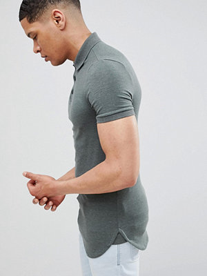 ASOS DESIGN longline muscle polo with bound curved hem in green - Lochness marl
