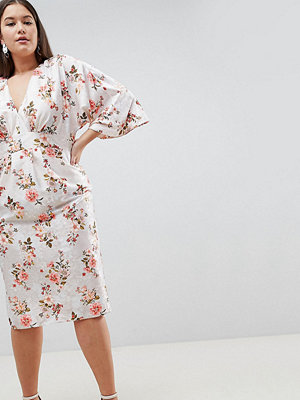 ASOS Curve ASOS DESIGN Curve kimono midi dress in printed floral jacquard