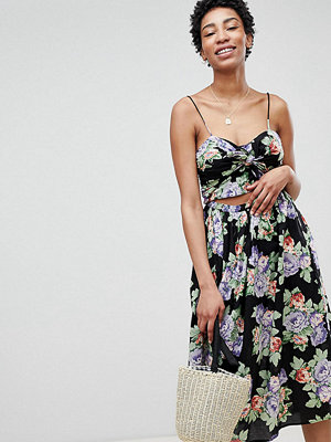 Asos Tall ASOS DESIGN Tall cut out midi sundress in dark floral print with bow