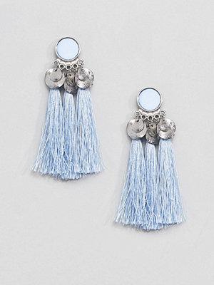 Pieces örhängen Boho Tassel Earring - Dusty blue