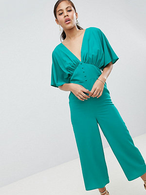 Asos Tall ASOS DESIGN Tall Tea Jumpsuit With Kimono Sleeve And Button Detail - Bright teal