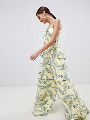 ASOS DESIGN Tiered Jumpsuit With Lace Up Front In Tropical Print - Tropical