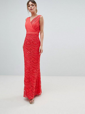 Little Mistress Lace Maxi Dress With Bow Back Detail - Coral
