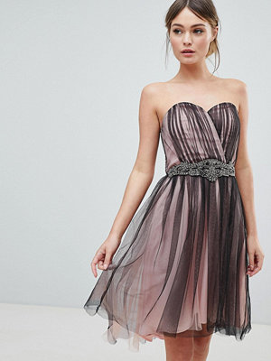 Little Mistress Mesh Overlay Hi Lo Dress With Embellished Waist - Black
