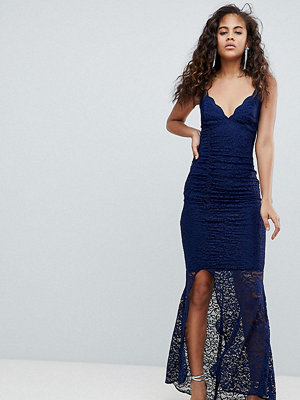 Asos Tall ASOS DESIGN Tall deep plunge lace bodycon maxi dress with fishtail