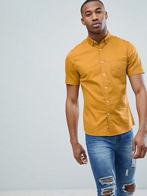 ASOS DESIGN Stretch Slim Denim Shirt In Mustard - Mustard