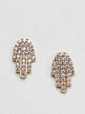 Ottoman Hands örhängen Gold Plated Diamante Hamsa Hand Stud Earrings
