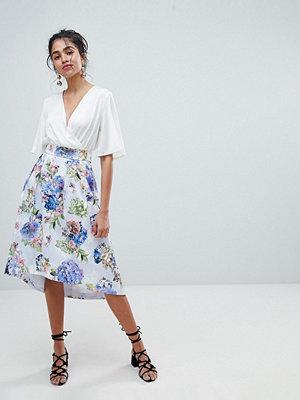 Oasis Floral Bloom Print Dip Hem Midi Skirt - Multi floral print
