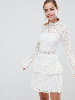 John Zack Petite Allover Lace Mini Dress With Crochet Waist Trim