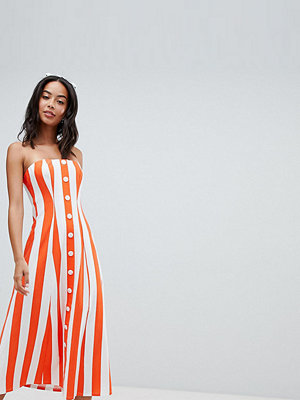 Asos Tall ASOS DESIGN Tall deckchair stripe button through bandeau midi sundress