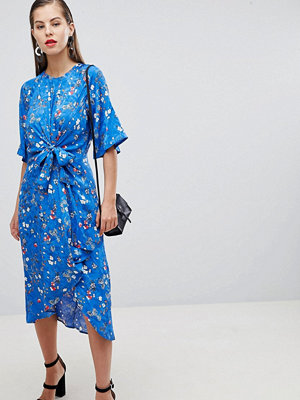 Y.a.s Floral Tie Front Midi Dress With Kimono Sleeve