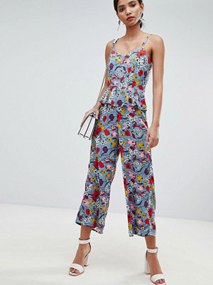 Y.a.s Bold Floral Wide Leg Jumpsuit With Ruffles