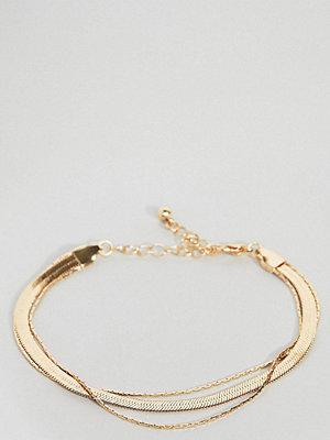 ASOS Curve armband ASOS DESIGN Curve multirow bracelet with vintage style flat snake chain