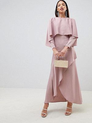 ASOS DESIGN crop top kimono satin maxi dress with split skirt - Mink