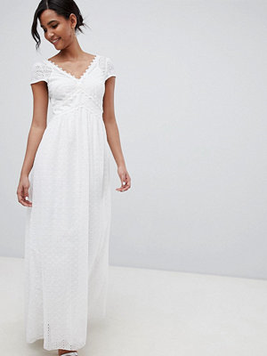 Little Mistress allover broderie plunge front maxi dress
