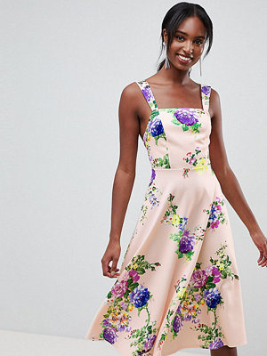 Asos Tall ASOS DESIGN Tall midi floral prom dress with square neck