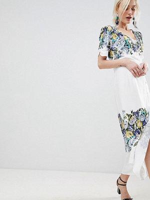 Free People Jaimie Floral Print Midi Wrap Dress - Neutral combo