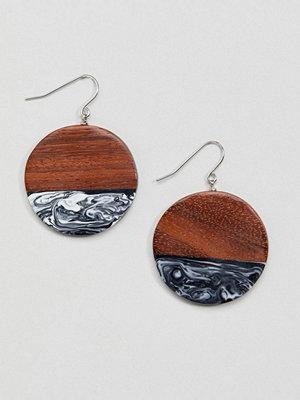 Whistles örhängen Wood and Marble Disc Earrings - Dark wood