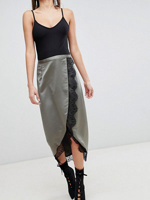 ASOS DESIGN satin wrap midi skirt with lace trim - Khaki